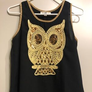 Golden Owl Black Tank Top
